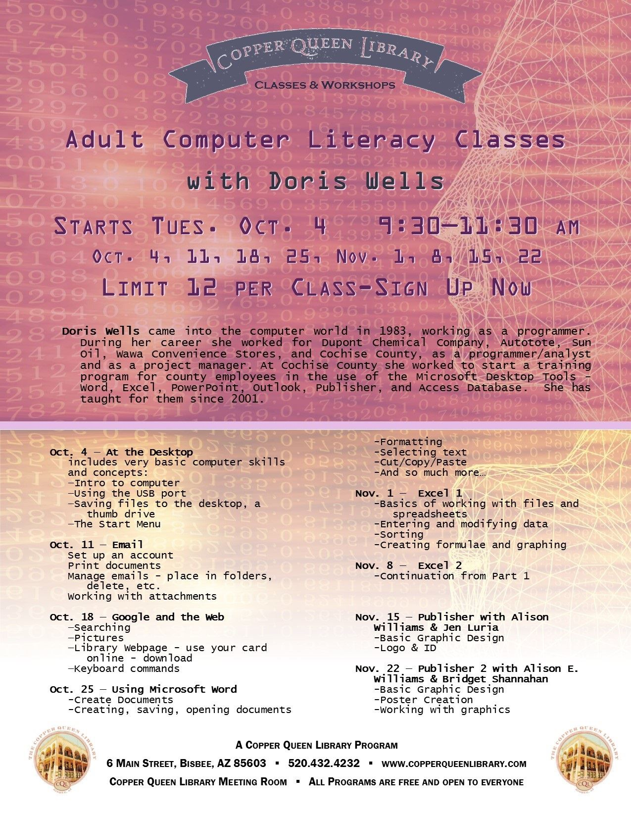 COMPUTERY LITERACY-DORIS WELLS  POSTER 8.5 X 11