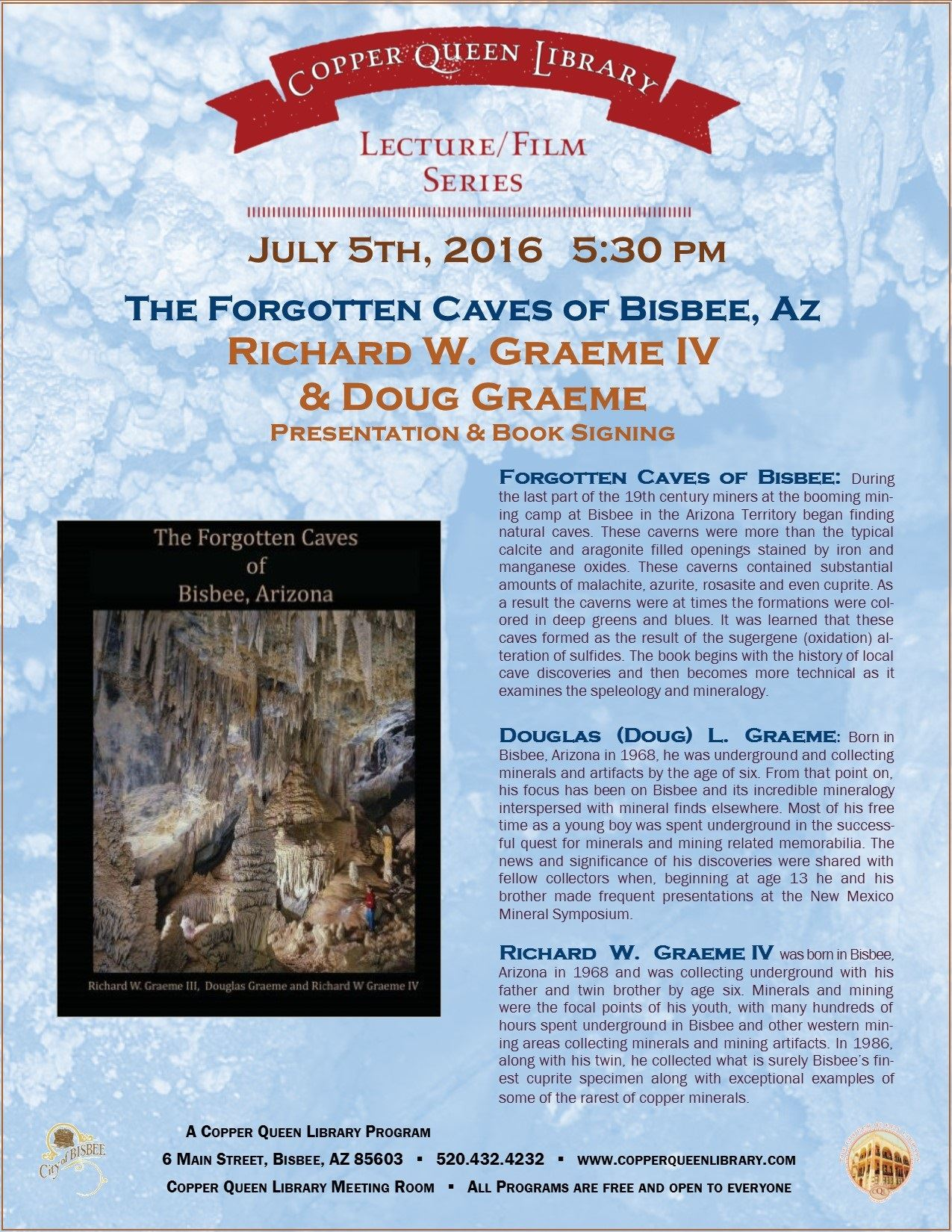 July 05.2016 RICHARD GRAEME FORGOTTEN CAVES POSTER