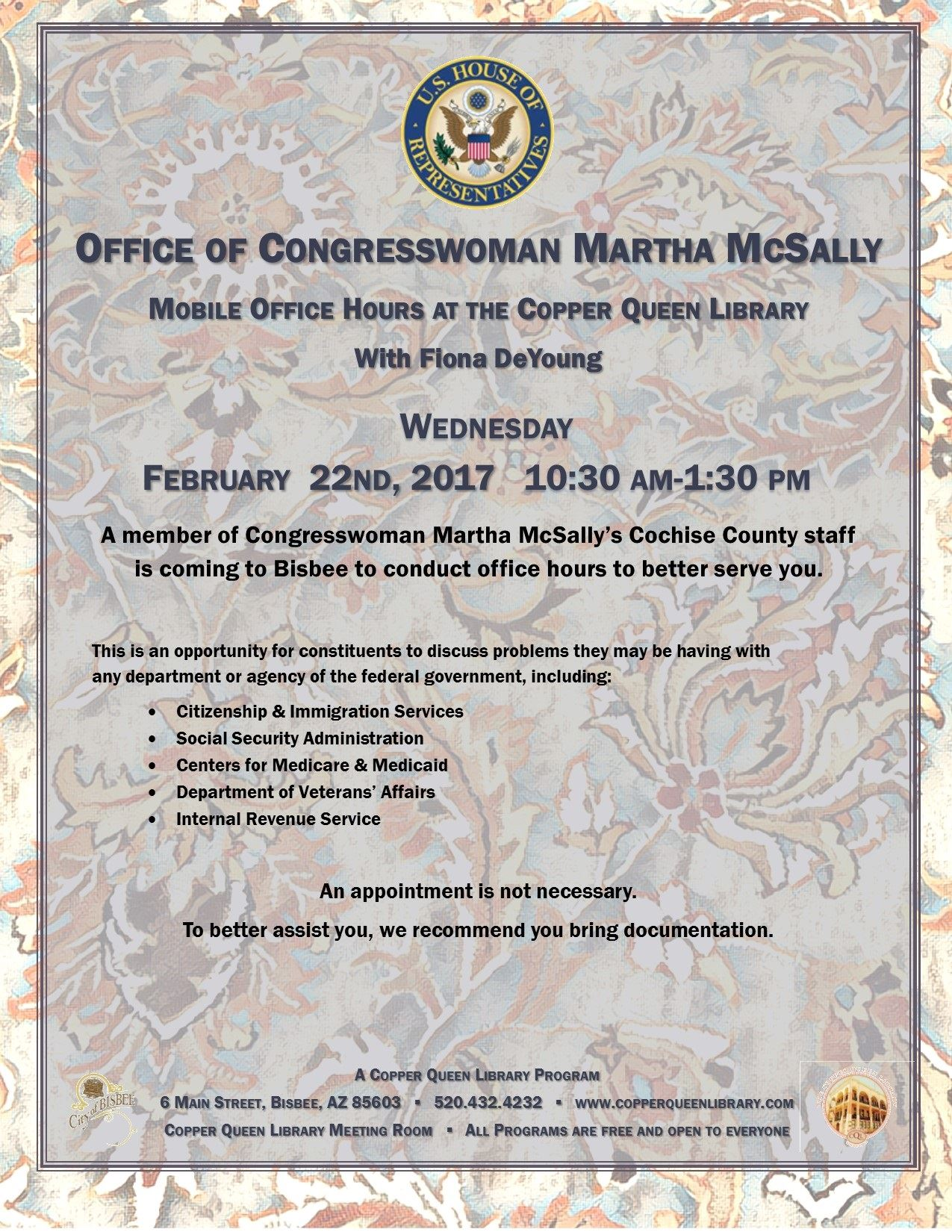 MARTHA MCSALLY OFFICE HOURS  2.22. 17 POSTER 8.5x11