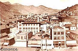 Black and white image of historical Bisbee