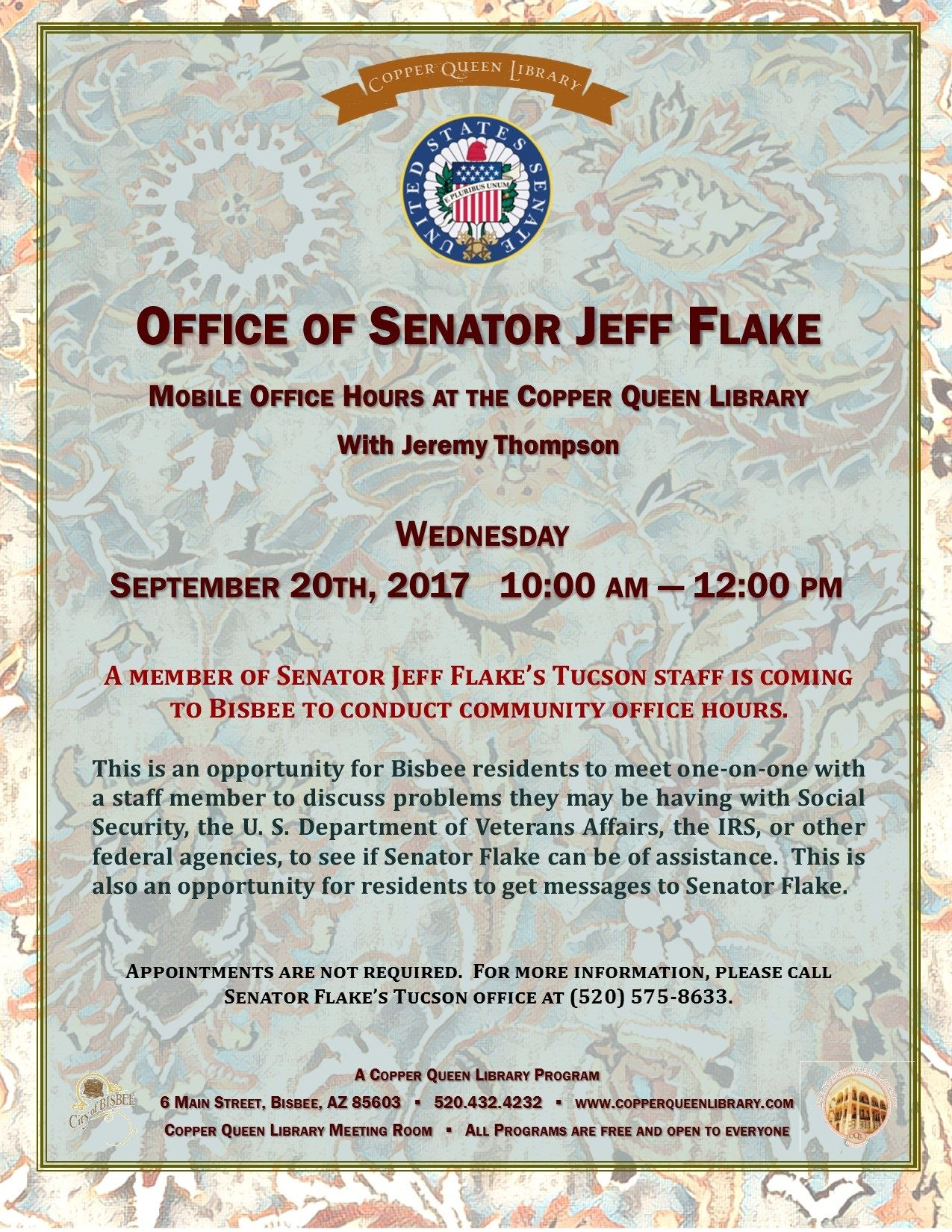 JEFF FLAKE OFFICE HOURS  9.20. 17 POSTER 8.5x11