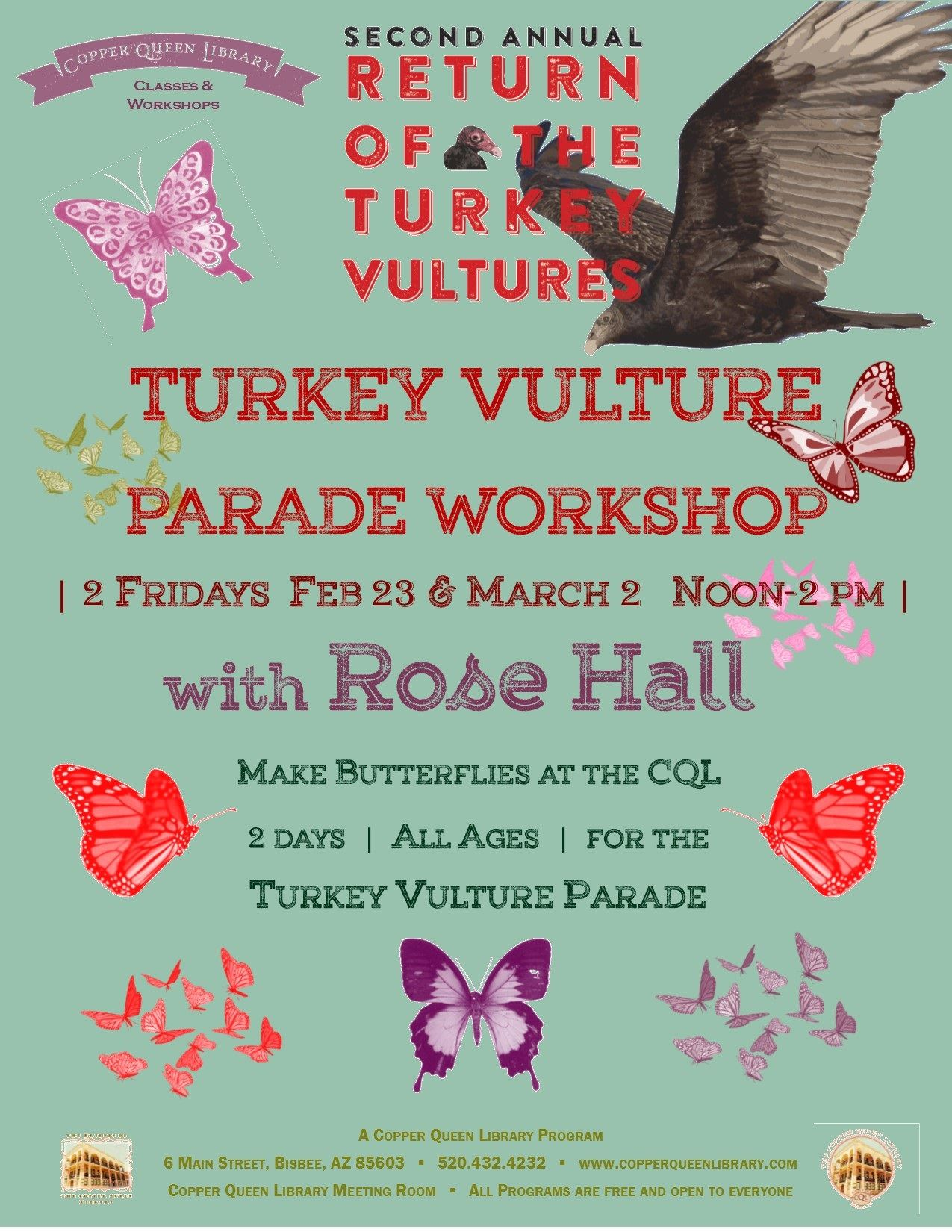 ROSE HALL TURKEY PARADE WORKSHOP POSTER FEB 2018 8.5 x 11