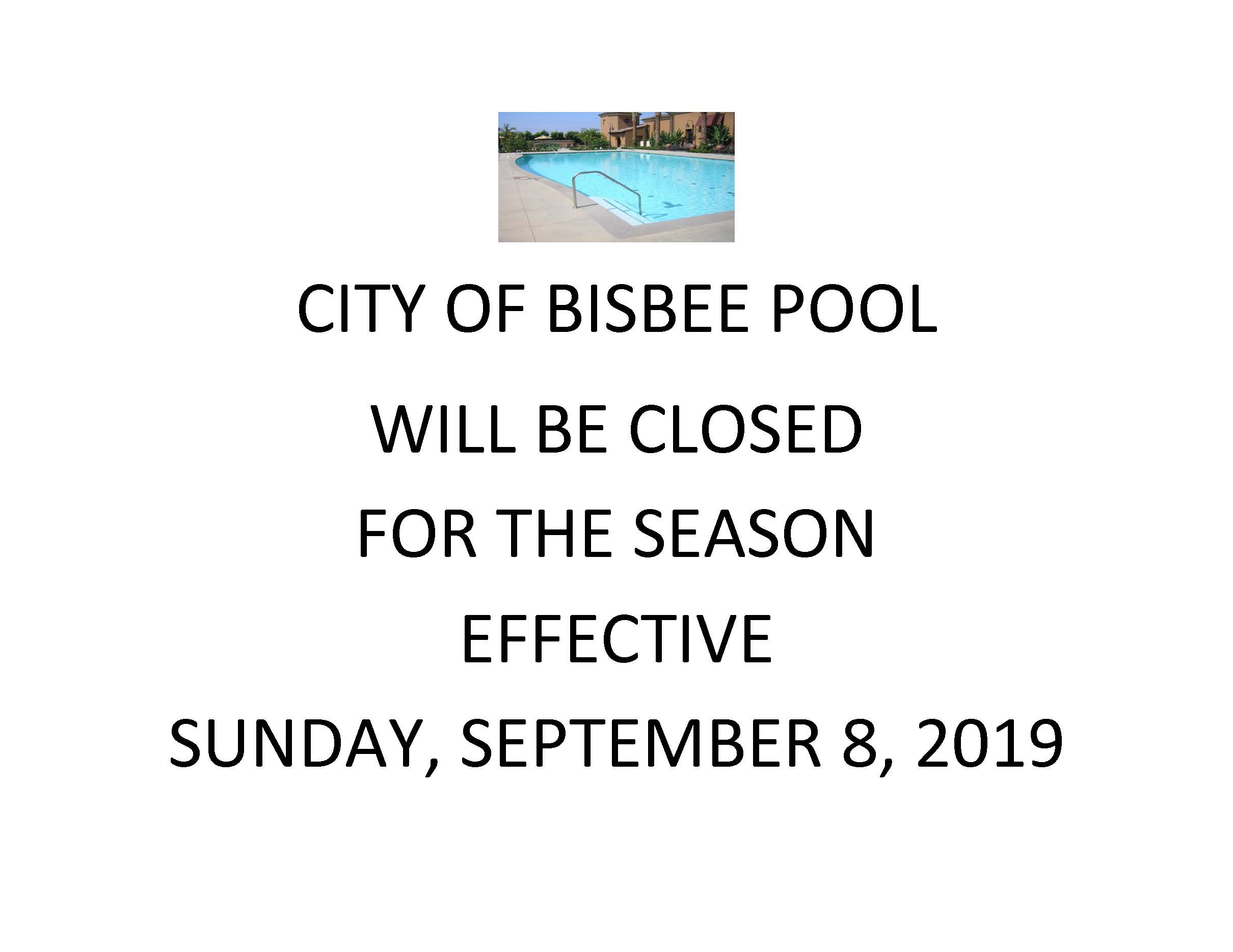 CITY OF BISBEE POOL-CLOSED FOR THE SEASON SIGN-2019