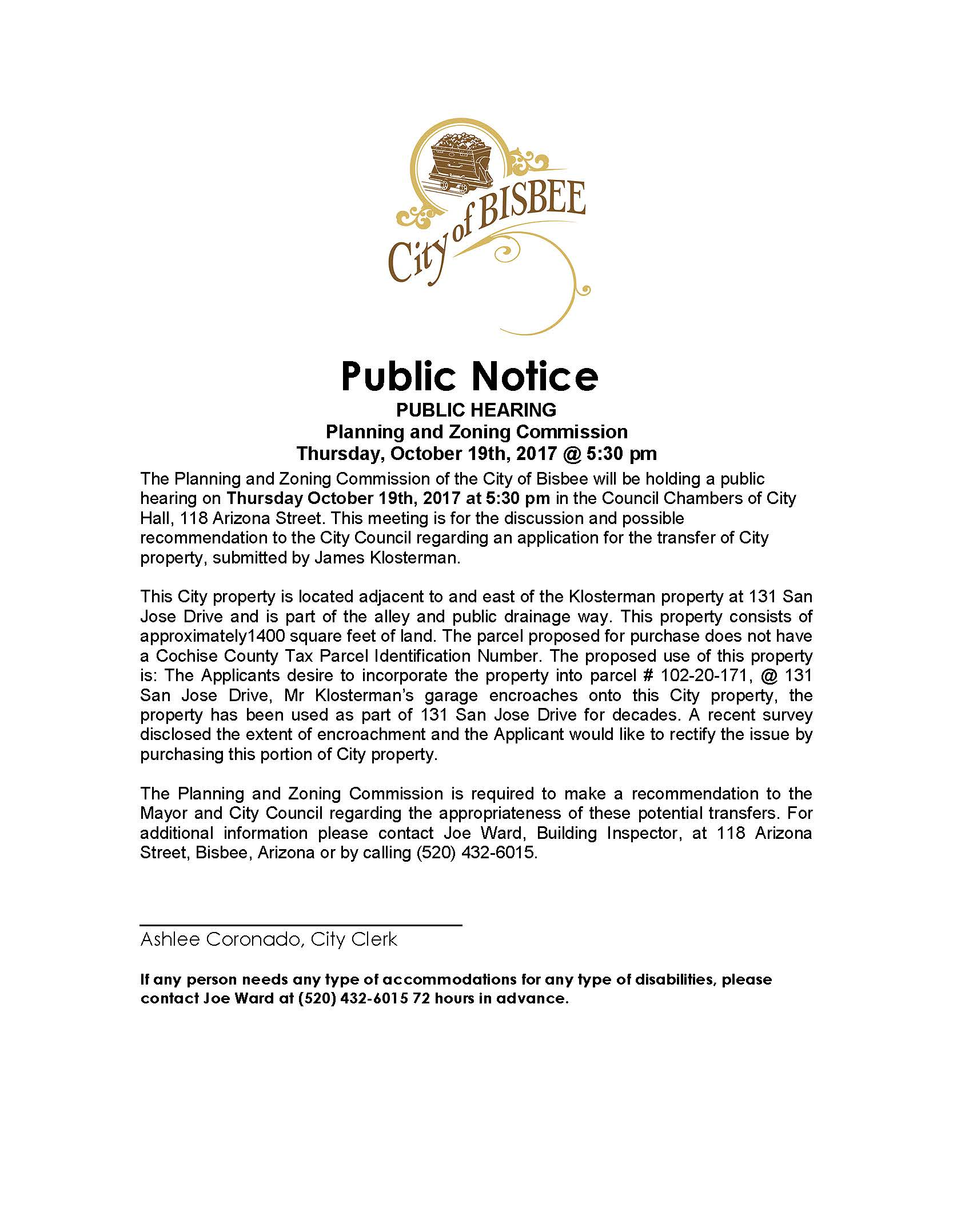 Public Notice-- pZ meeting klosterman