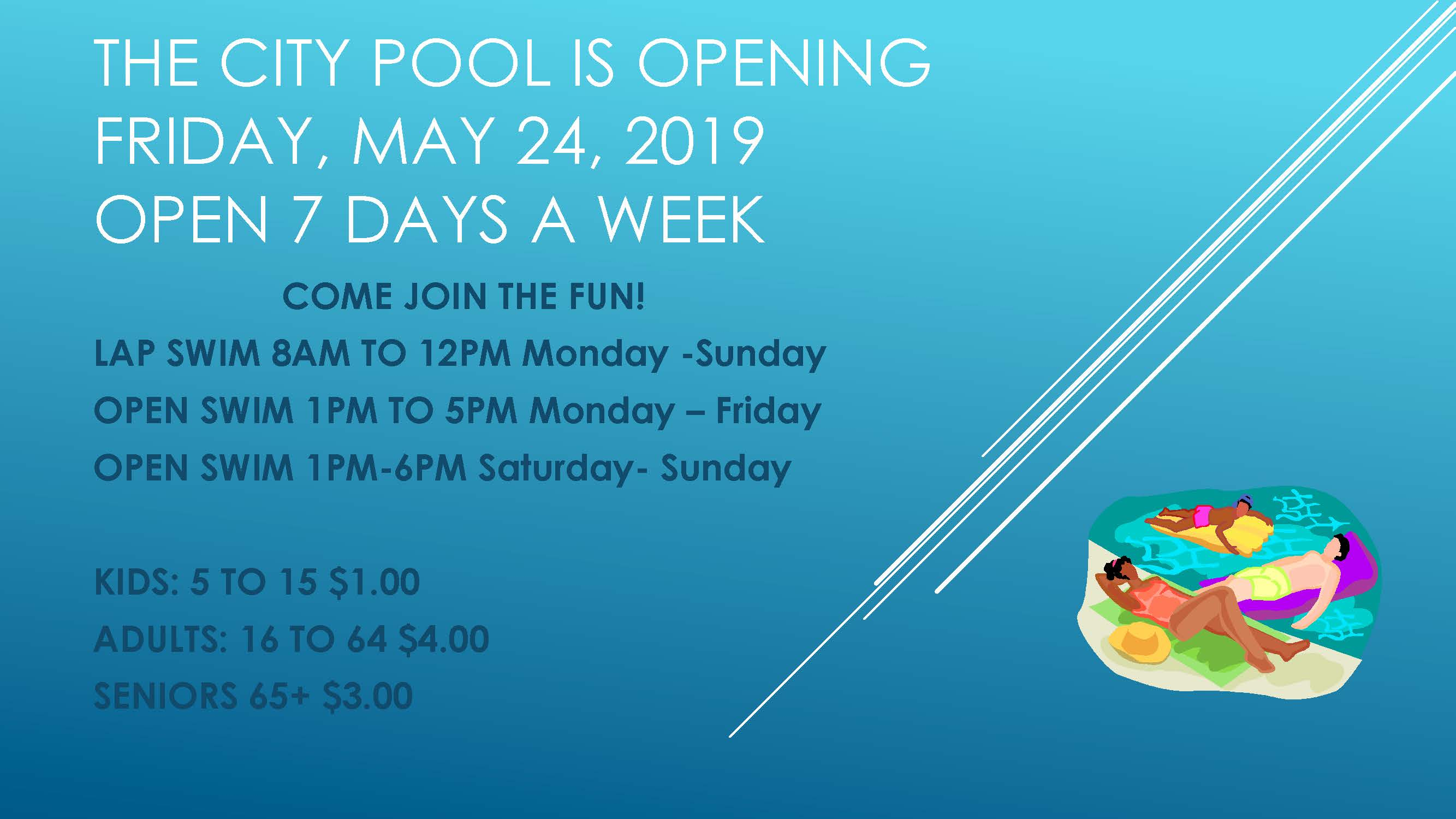 The City pool is opening