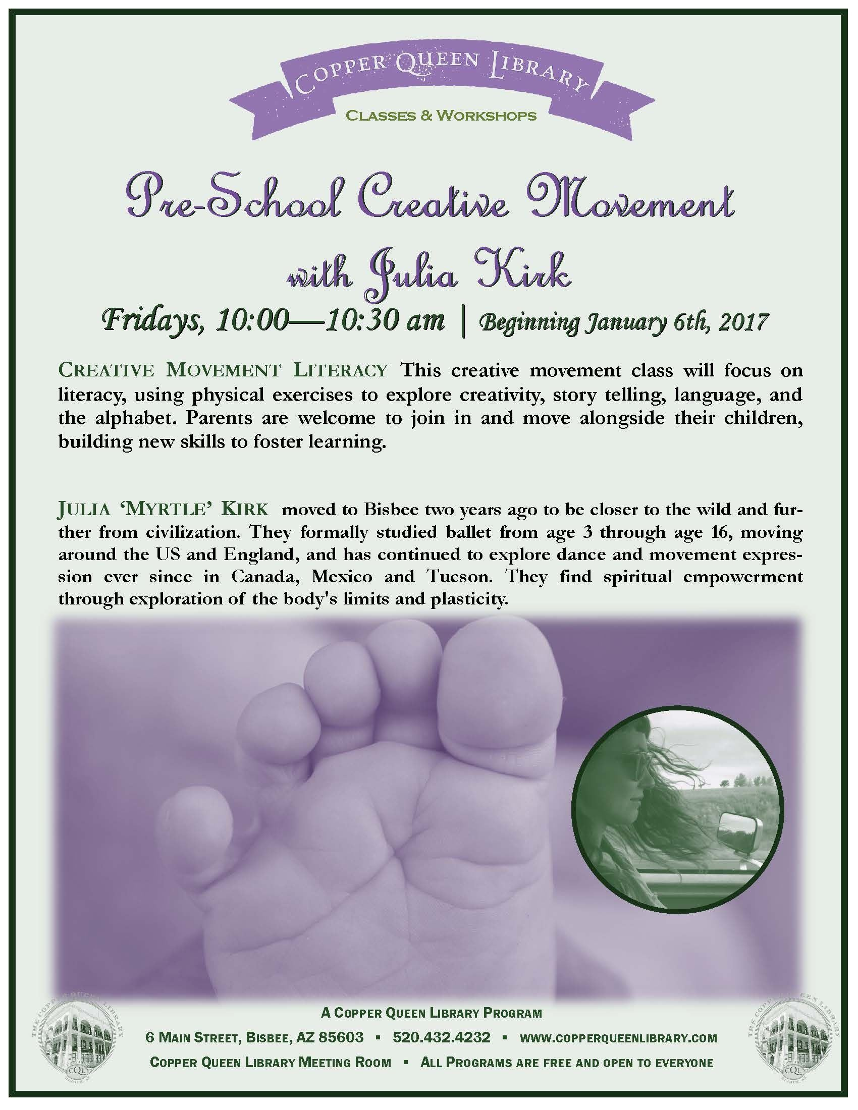 PRE SCHOOL CREATIVE MOVEMENT JULIA KIRK POSTER JAN 2017
