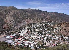 Arial view of the current City of Bisbee