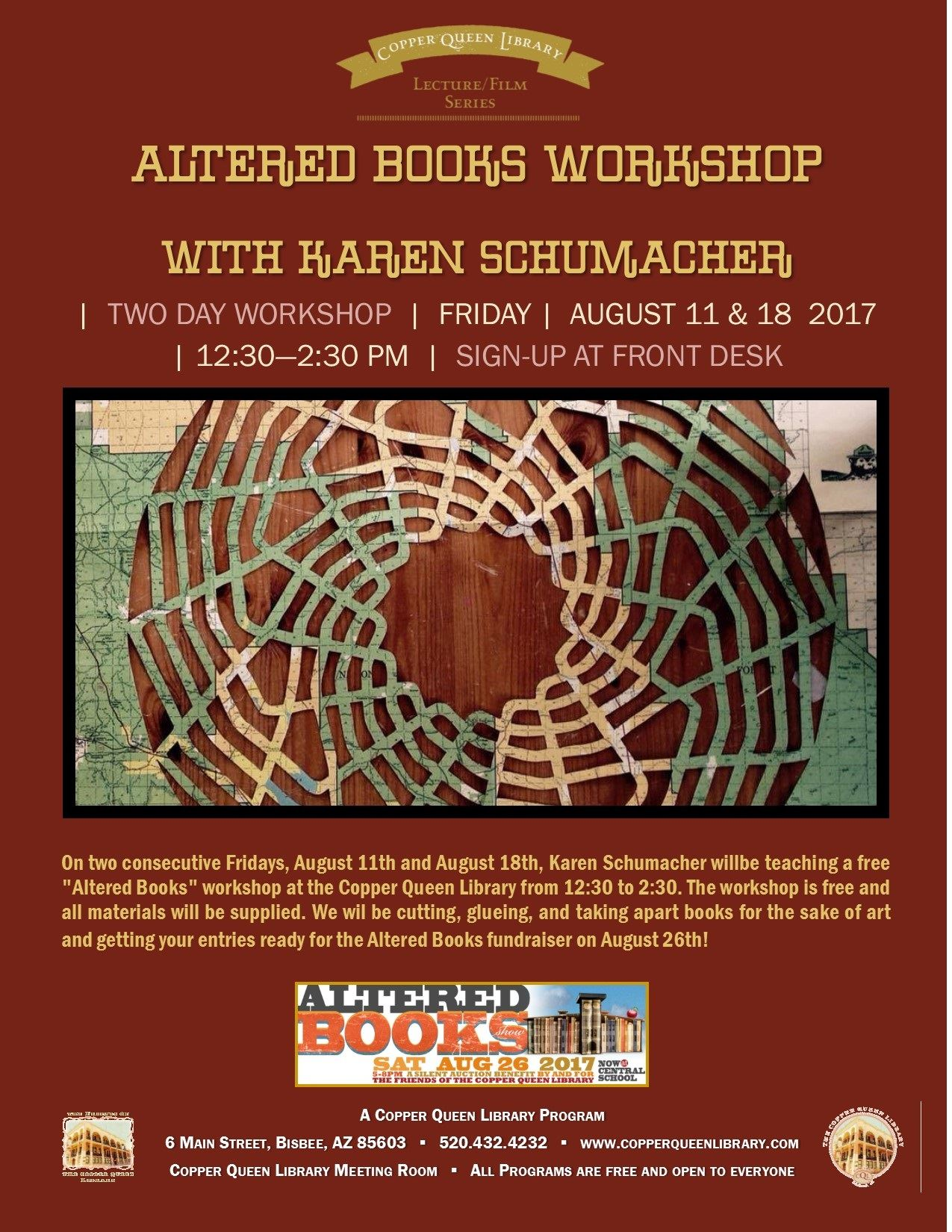 ALTERED BOOKS WORKSHOP AUGUST 2017 POSTER 8.5 X 11