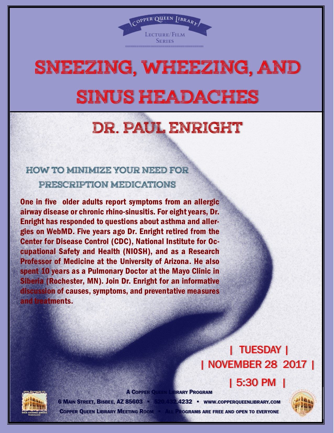 PAUL ENRIGHT SNEEZING WHEEZING 11.28.2017 POSTER 8.5 X 11