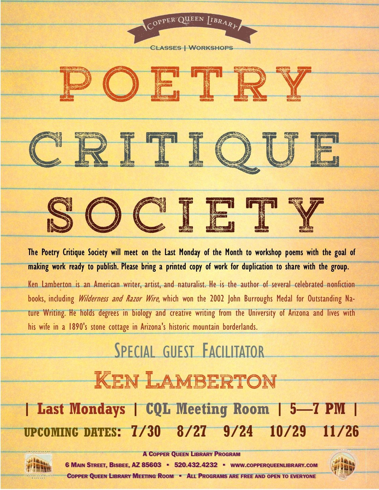 POETRY CRITIQUE SOCIETY JULY 2018 8.5 x 11