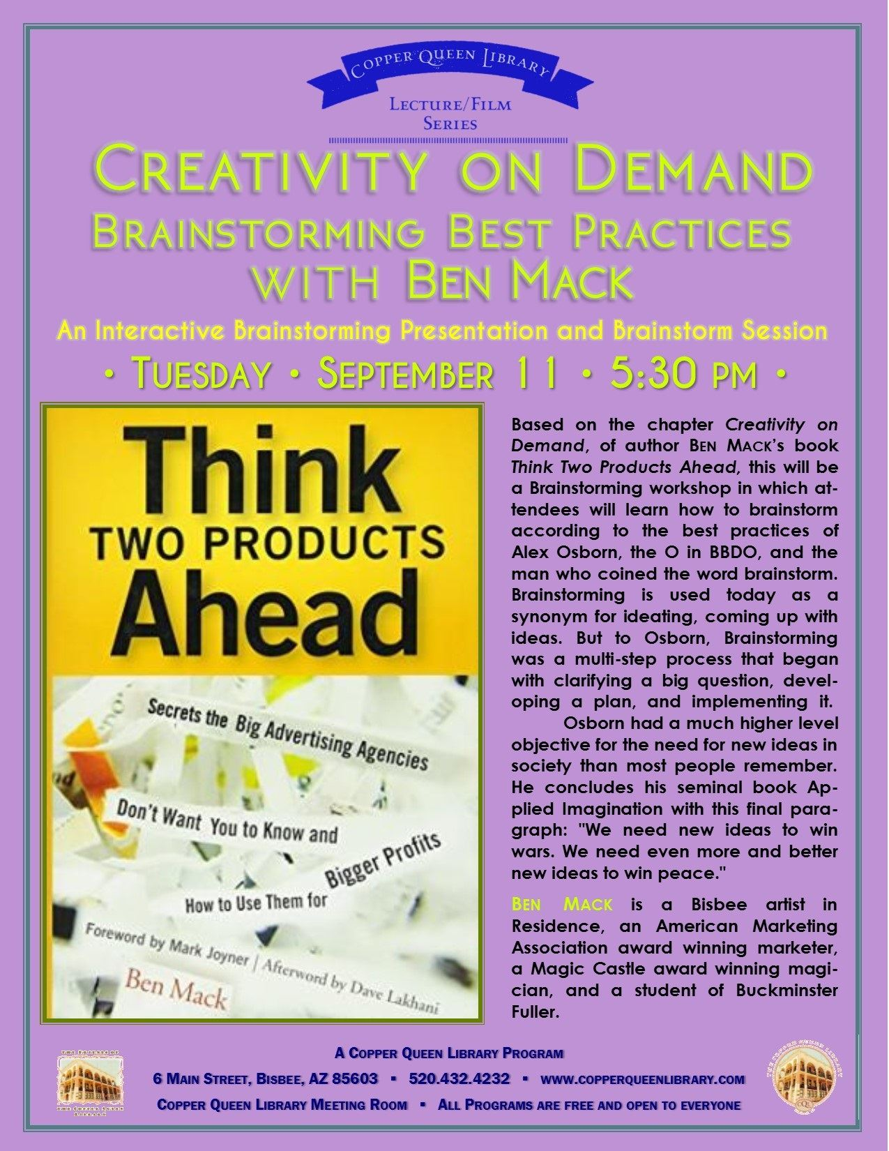 BEN MACK CREATIVITY ON DEMAND  9.11.18 8.5 X 11