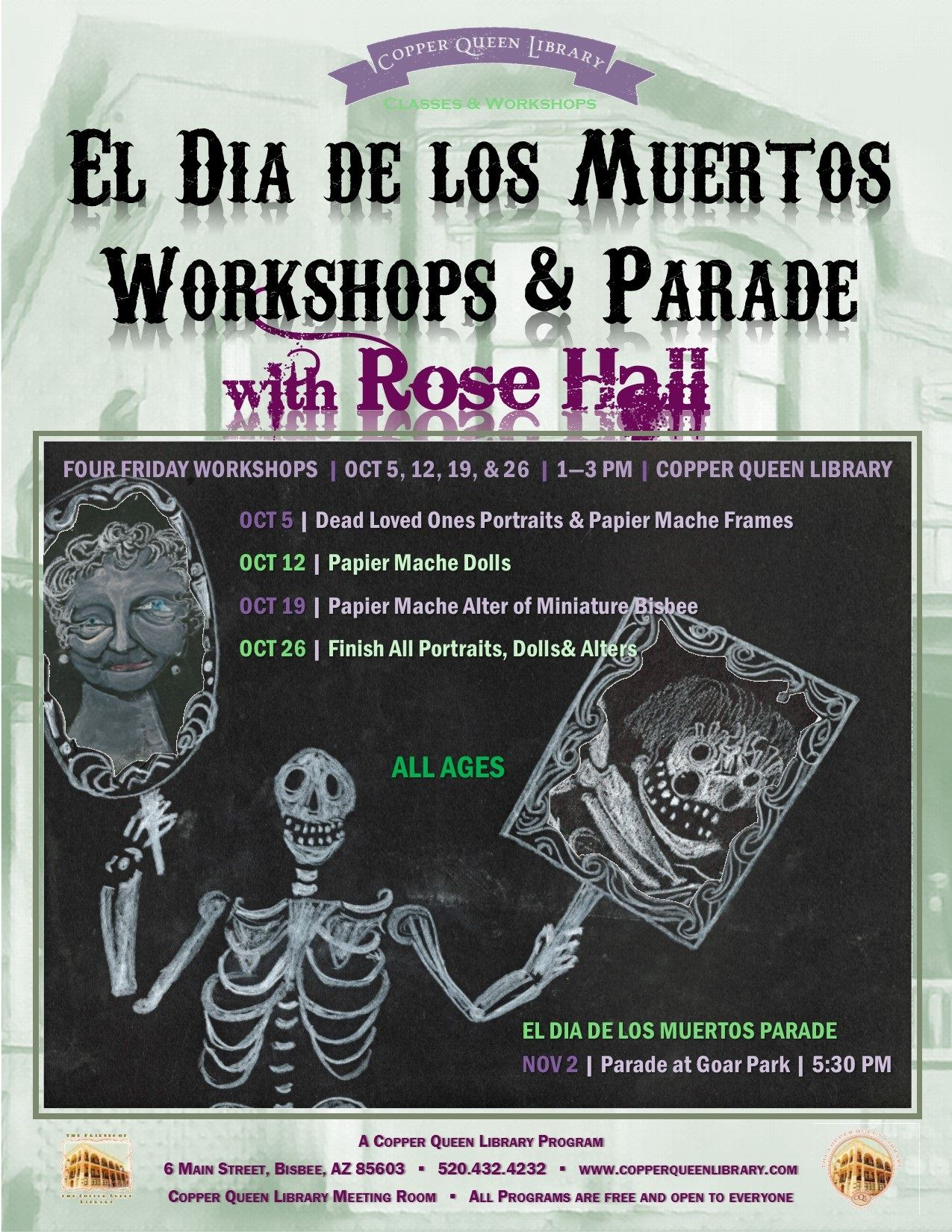 ROSE HALL DIA DE LOS MUERTOS WORKSHOP POSTER OCT 2018 8.5 x 11