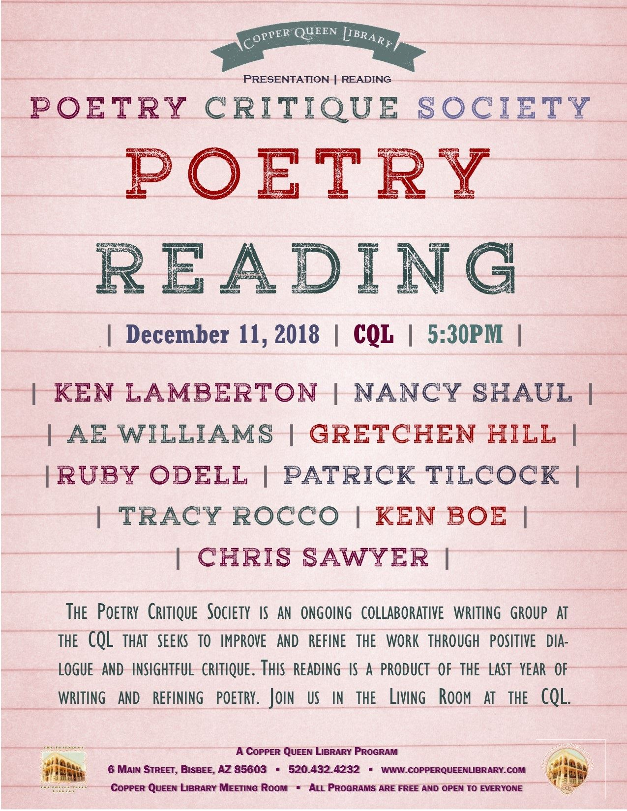 POETRY CRITIQUE SOCIETY READING