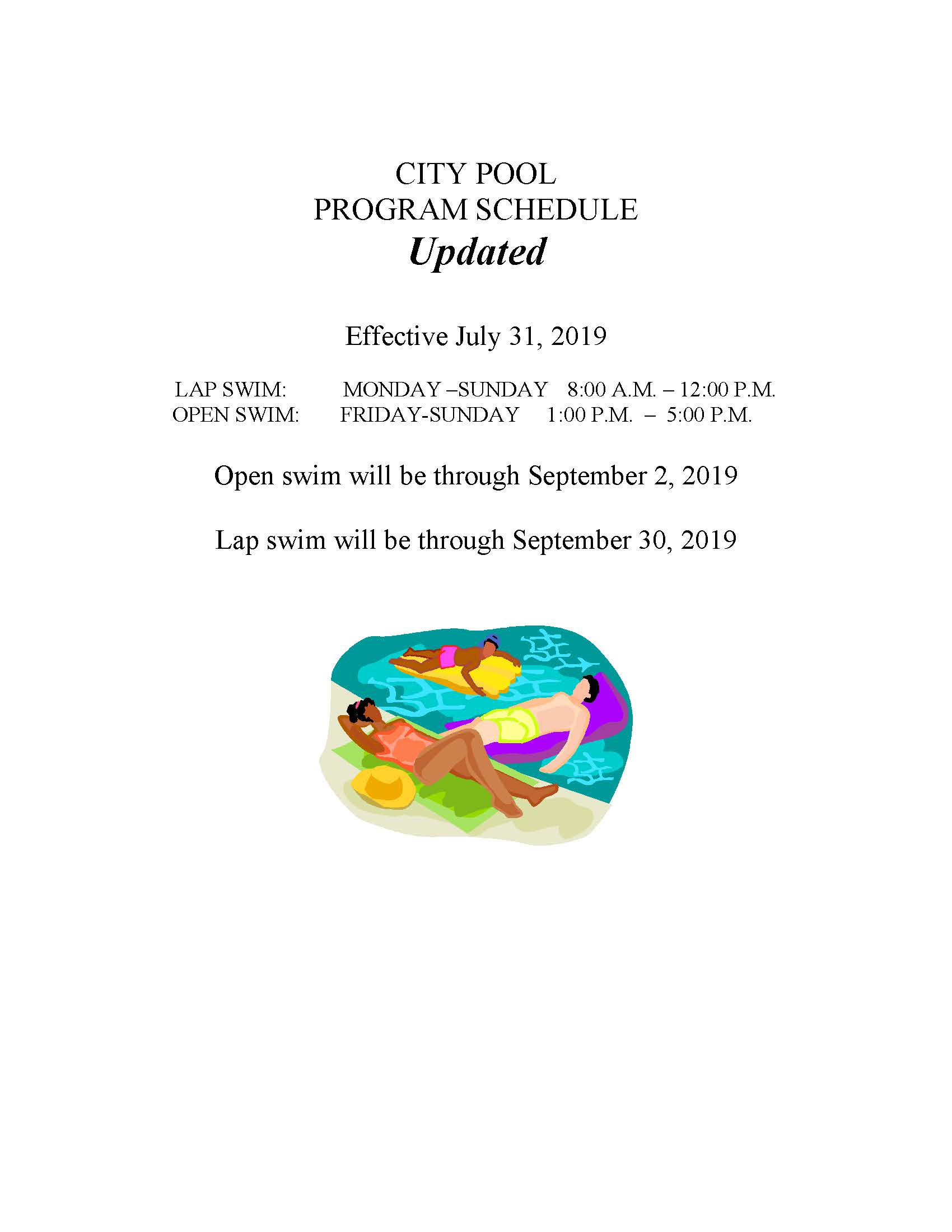 POOL SCHEDULE PROGRAM  UPDATE WITH CLOSING DATES-2019
