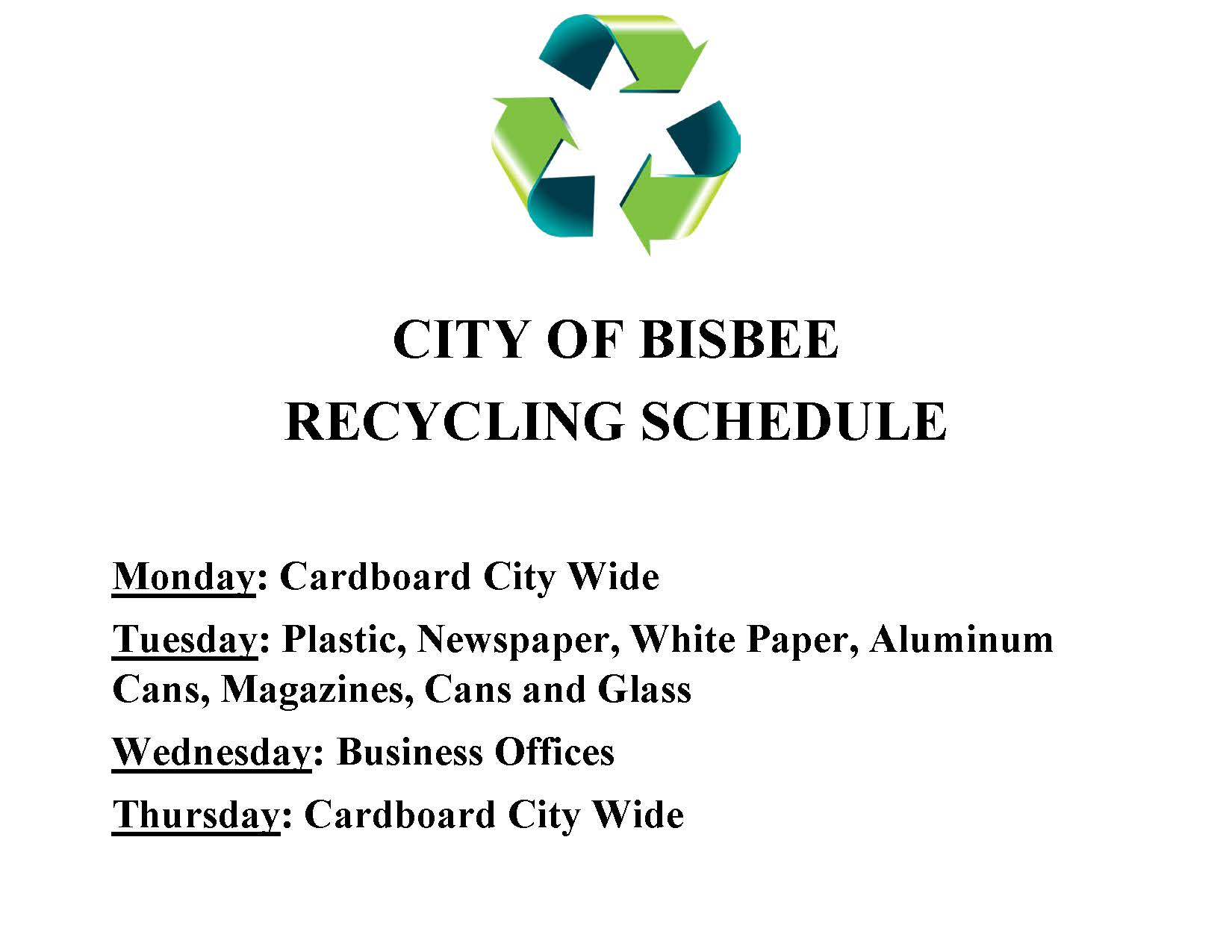 Recycling Schedule