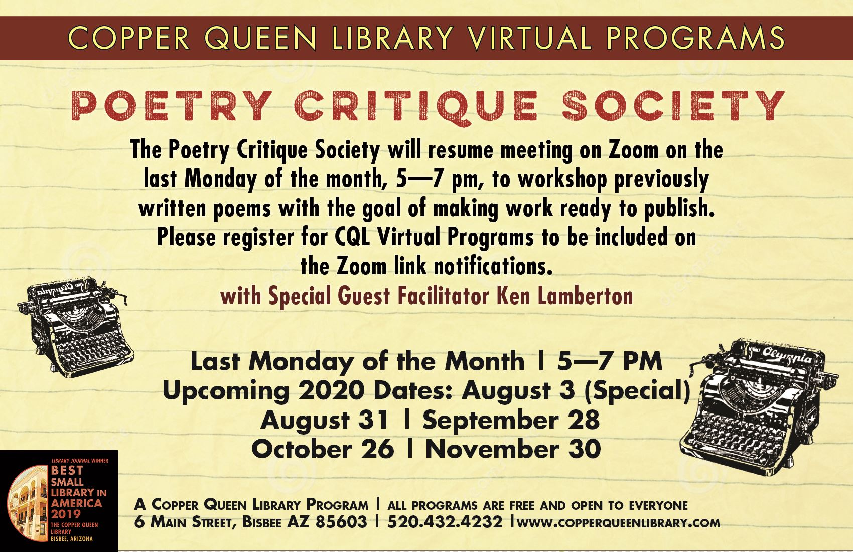 CQL VP POETRY CRITIQUE SOCIETY
